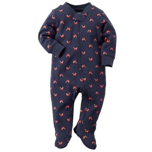 Pijama Osito Azul con Zorros Naranja